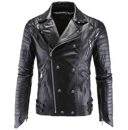 Rebelsmarket mens punk black pu leather stand collar skull stud motorcycle jackets jackets 7