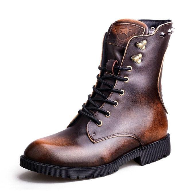 6e4c348757edb Men's Vintage Skull Rivets Lace Up Martin Boots