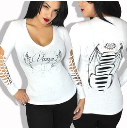 Sexy Vamp Wing Diy Slashed L/S Plus Size Gothic Wings Tattoo Festival Top