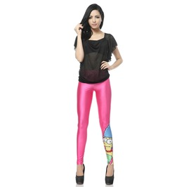 Pink Cartoon Pattern Leggings Pants