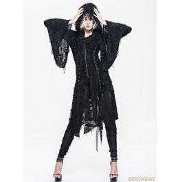 Black Gothic Hooded Tassle Jacket For Women Ct037