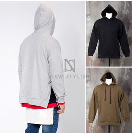 Side Incision Accent Neat Hoodie 117