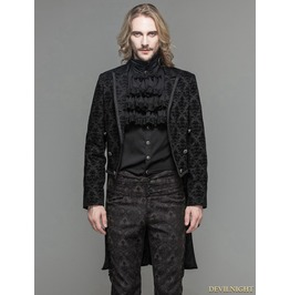 Black Gothic Vinatge Pattern Jacket For Men Ct051