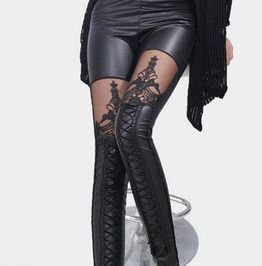 cb7f627008e Punk Gothic Women s Black Hollow Embroidery Lace Faux Leather Leggings