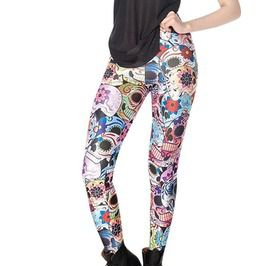 Spooky Punk Pastel Goth Women's Funky Sugar Skulls Floral 3 D Print High Waisted Leggings