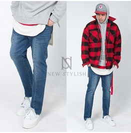 Distressed Hem Accent Straight Denim Jeans 256