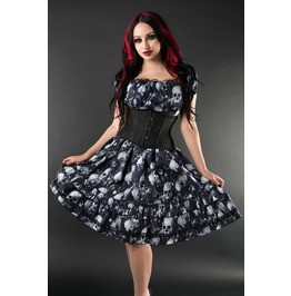 Black Grey Skull Gothic Rockabilly Ruffle Corset Dress $5 To Ship Worldwide