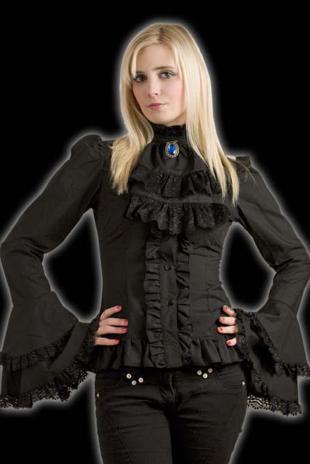 rebelsmarket_black_brocade_cravate_blouse_victorian_vampire_button_up_shirt_9_to_ship_standard_tops_3.jpg