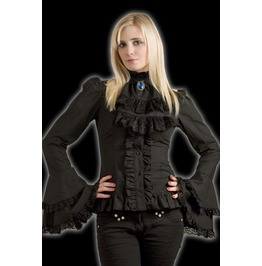 Black Gothic Cravate Blouse Victorian Vampire Button Up Shirt $5 To Ship