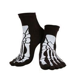 Punk rock skull skeleton design cotton toe socks socks