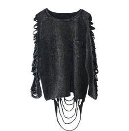 Punk Rock Women's Dark Grey Shredded Shirt