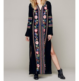 Womens Hippie Mexican Boho Embroidered Pessant Flower Beach Maxi Sexy Dress