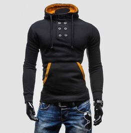 Double Breasted Turn Down Collar Fleece Mens Hoodies Sweatshirts