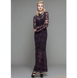 Purple Lace Romantic Gothic Long Dress Skt03203