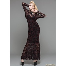 Red Lace Romantic Gothic Long Dress Skt03202