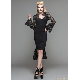 Black Gothic Pencil Midi Dress With Lace Sleeves Skt031