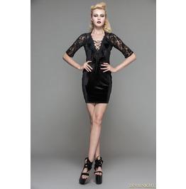 Black Velvet Half Sleeves Lace Short Dress Skt030