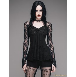 Black Romantic Gothic Lace Shirt For Women Tt051