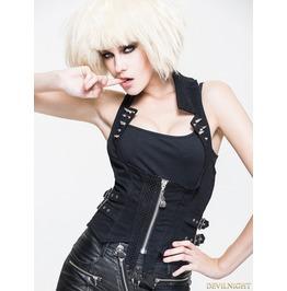 Black Gothic Punk Rivet Waistcoat For Women Wt009