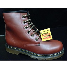 Brown Leather Unisex Combat Boots