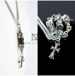 Celtic Cross With Leather Woven Charm Chain Necklace 52
