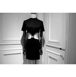 Fashion Black Waist Cutout Mini Dresses