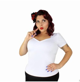 True White Sweet Heart Pin Up Blouse