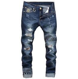 Mens Washed Ripped Patched Skull Denim Biker Jeans