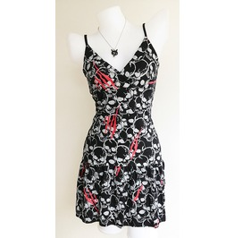 Dress Women Rock Skull Black Rockabilly Pinup Retro Punk Concert Lady Blood Size M L Xl