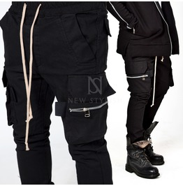 Wide Zippered Cargo Pockets Drawcord Black Sweatpants 236