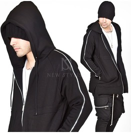 Zippered Sleeves Black Zip Up Hoodie 119
