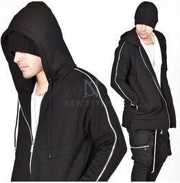 Zippered Sleeves Black Zip Up Hoodie 119