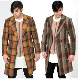 Classic Checkered Double Breasted Slim Long Coat 129