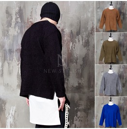 Side Incision Basic Knit Sweater 45