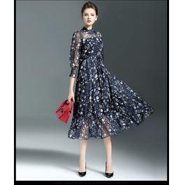 Vintage Silk Maxi Dress Women Sweet Flower