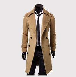 Double Breasted Trench Coat Slim Long Jacket
