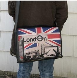 Student, London, Benga Rabbit, Black Vegan Leather Messenger Bag