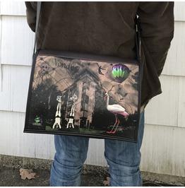 Student, Wonder Print, Benga Rabbit, Brown Vegan Leather Messenger Bag