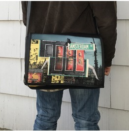 Student, Amsterdam Print, Benga Rabbit, Black Vegan Leather Messenger Bag