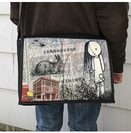 Student, Buba Print, Benga Rabbit, Black Vegan Leather Messenger Bag