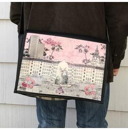 Student, Silencio Print, Benga Rabbit, Black Vegan Leather Messenger Bag
