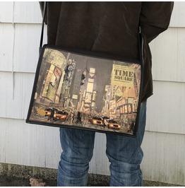 Student,Time Square Print, Benga Rabbit, Brown Vegan Leather Messenger Bag