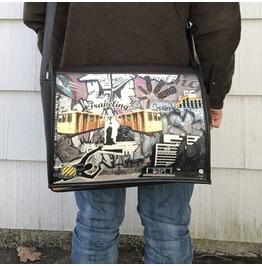 Student,Traveling Print, Benga Rabbit, Brown Vegan Leather Messenger Bag