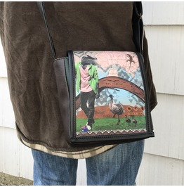 Mini, Australia Print, Benga Rabbit, Brown Vegan Leather, Messenger Bag