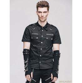 Black Handsome Gothic Punk Short Sleeves Shirt For Men Sjm129