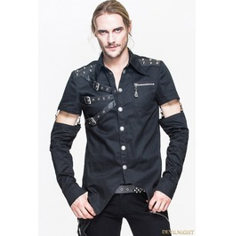 Black Gothic Punk Mens Shirt With Detachable Sleeves Sht019