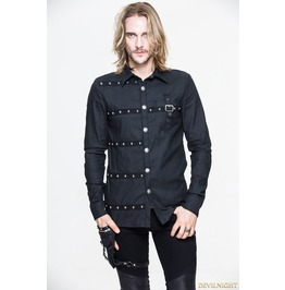 Black Gothic Punk Long Sleeves Blouse For Men Reference : Sht018
