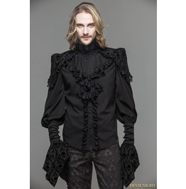 Black Gothic Long Sleeves Ruffles Shirt For Men Sht012