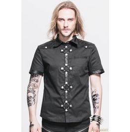 Black Gothic Punk Short Sleeves Shirt For Men Sht008