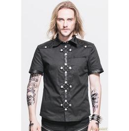 Black Gothic Punk Short Sleeves Shirt For Men Sht008